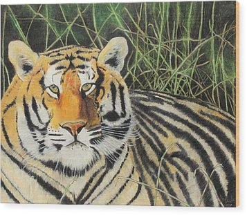 Wood Print featuring the painting Tigress by Jeanne Fischer