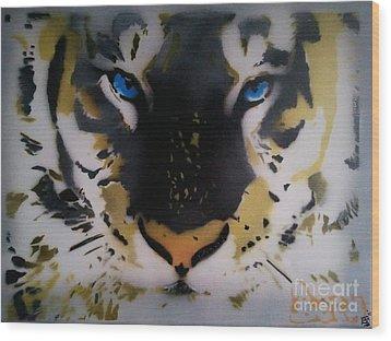 Tigrrr 2 Wood Print by Barry Boom