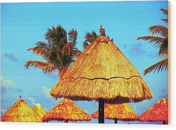 Wood Print featuring the photograph Tiki Huts by J Anthony