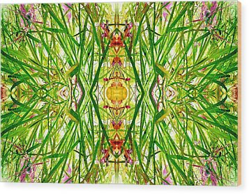 Tiki Idols In The Grass  Wood Print by Marianne Dow