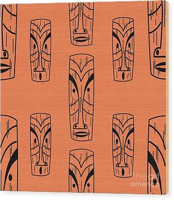 Tiki On Orange Pillow Wood Print