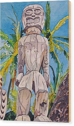 Tiki Wood Print by Terry Holliday