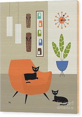 Tikis On The Wall Wood Print