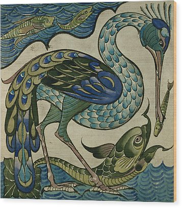 Tile Design Of Heron And Fish Wood Print by Walter Crane
