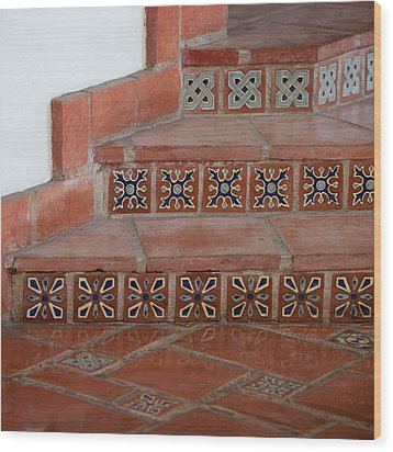 Tiled Stairway Wood Print by Art Block Collections