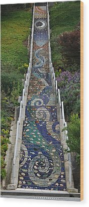 Tiled Steps Wood Print