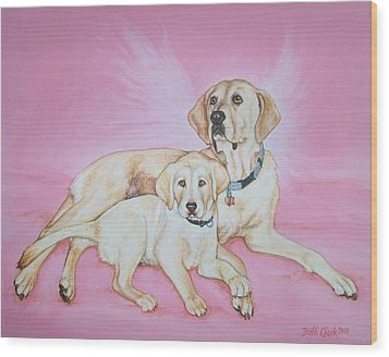 Tilly And Forrest Wood Print by Beth Clark-McDonal