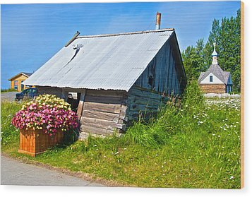 Tilted Shed In Old Town Kenai-ak Wood Print by Ruth Hager