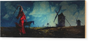 Tilting At Windmills Wood Print