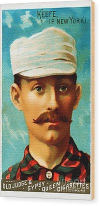 Tim Keefe New York Metropolitans Baseball Card 0128 Wood Print by Wingsdomain Art and Photography