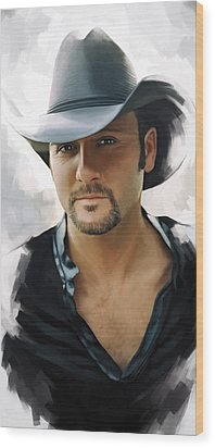 Tim Mcgraw Artwork Wood Print by Sheraz A