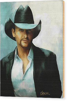 Tim Mcgraw Wood Print by Robert Smith