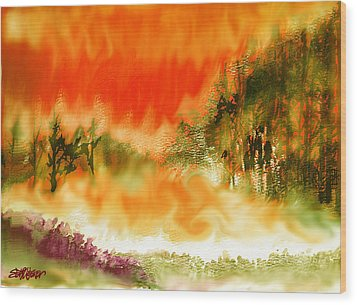 Wood Print featuring the mixed media Timber Blaze by Seth Weaver