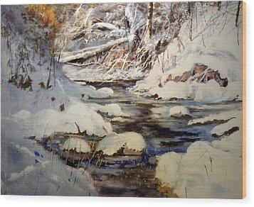 Timber Creek Winter Wood Print by Joseph Barani