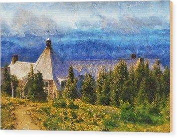 Timberline Lodge Wood Print by Kaylee Mason