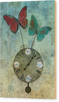 Time Flies Wood Print by Aimelle