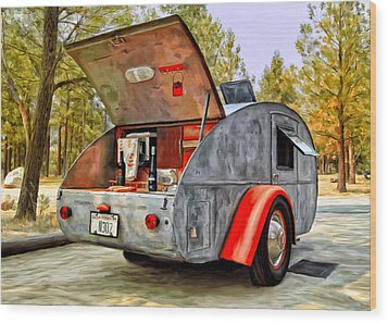 Time For Camping Wood Print by Michael Pickett