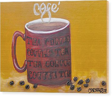 Time For Coffee Wood Print by Melissa Torres