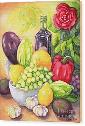 Time For Fruits And Vegetables Wood Print by Inese Poga