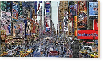 Time Square New York 20130430 Wood Print by Wingsdomain Art and Photography