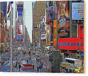 Time Square New York 20130503v4 Wood Print by Wingsdomain Art and Photography
