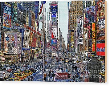 Time Square New York 20130503v5 Wood Print by Wingsdomain Art and Photography