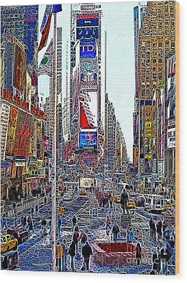 Time Square New York 20130503v6 Wood Print by Wingsdomain Art and Photography