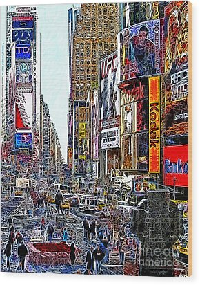 Time Square New York 20130503v7 Wood Print by Wingsdomain Art and Photography