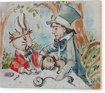 Time The Mad Tea Party 2 Wood Print by Carrie Joy Byrnes