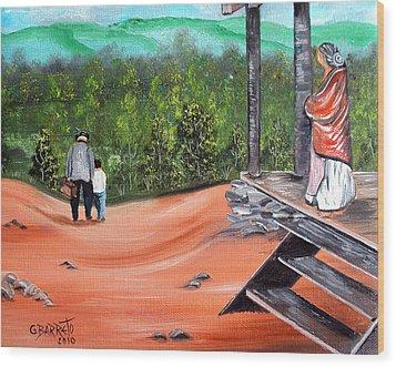 Time To Go Wood Print by Gloria E Barreto-Rodriguez