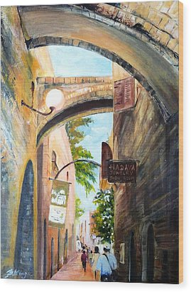 Timeless Alleys Wood Print by Betty M M   Wong