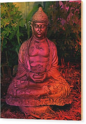 Timeless Buddha Wood Print by Carlos Avila