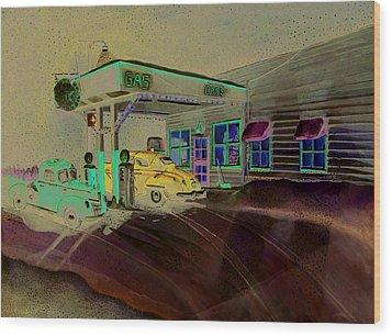Times Past Gas Station Wood Print by Rick Huotari