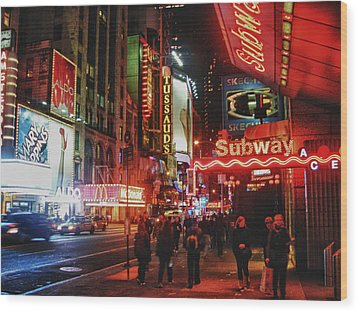Times Square  Wood Print by Anthony  Myers