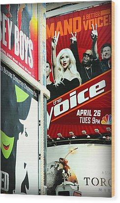 Times Square Billboards Wood Print by Valentino Visentini