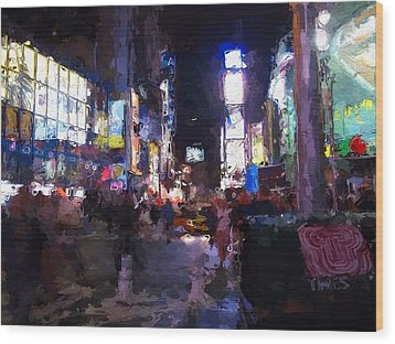 Times Square By Night Wood Print by Steve K