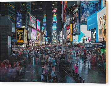 Wood Print featuring the photograph Times Square by Chris McKenna