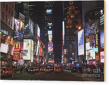 Times Square Colors Wood Print by John Rizzuto