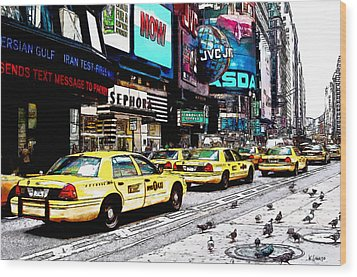 Times Square Wood Print by Kai Saarto