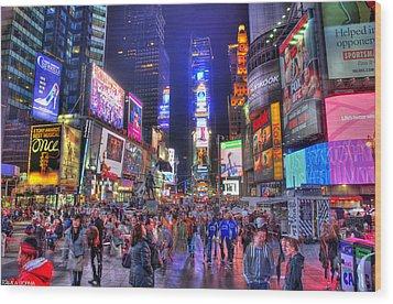 Times Square Wood Print by Kamila  Gornia