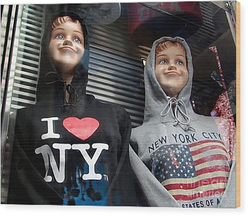Times Square Kids Wood Print by Ed Weidman