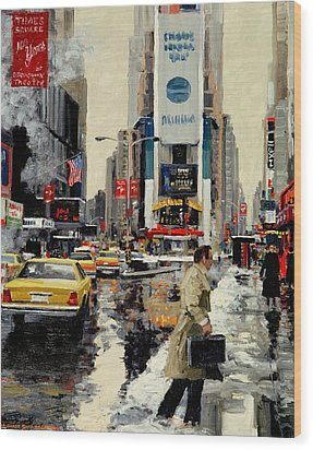 Times Square '95 Wood Print by Michael Swanson
