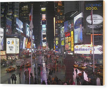 Times Square Wood Print by Mike McGlothlen