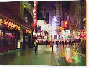 Times Square New York - Nanking Restaurant Wood Print