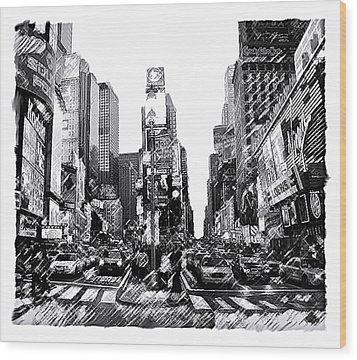 Times Square   New York City Wood Print by Iconic Images Art Gallery David Pucciarelli