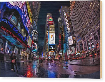 Times Square New York City The City That Never Sleeps Wood Print by Susan Candelario
