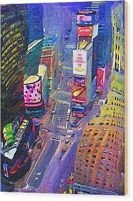 Times Square Nyc Wood Print by Bud Anderson