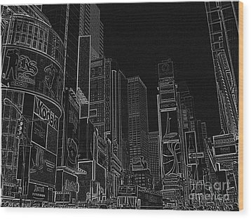 Times Square Nyc White On Black Wood Print by Meandering Photography