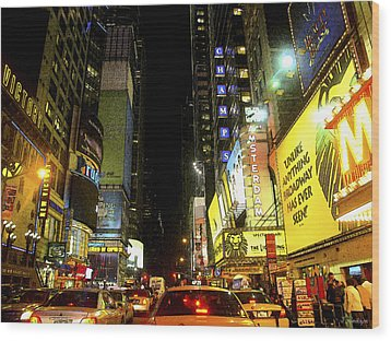 Times Square Photofresco Wood Print by Joseph Hedaya