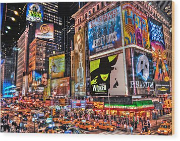 Times Square Wood Print by Randy Aveille